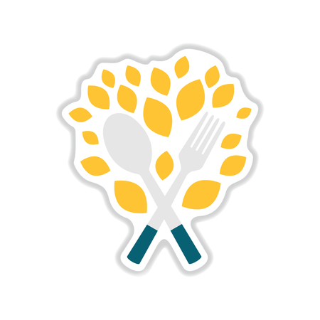 veg: paper sticker on white background eco cutlery Illustration