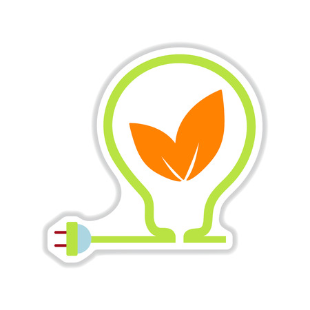 flat earth: paper sticker on white background eco light bulb Illustration