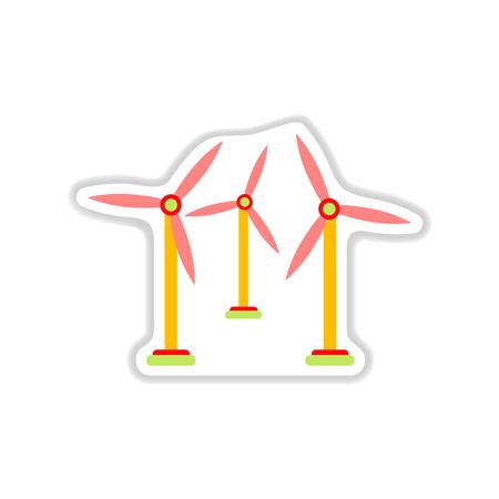 regenerating: paper sticker on white background wind mill