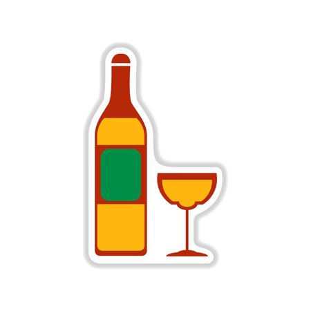 paper sticker on white background wine bottle wineglass Illustration