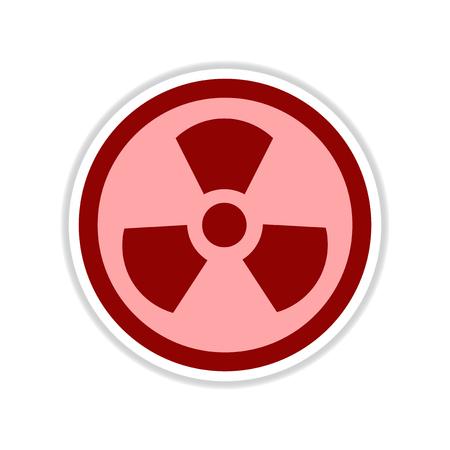 paper sticker on white background toxic symbol