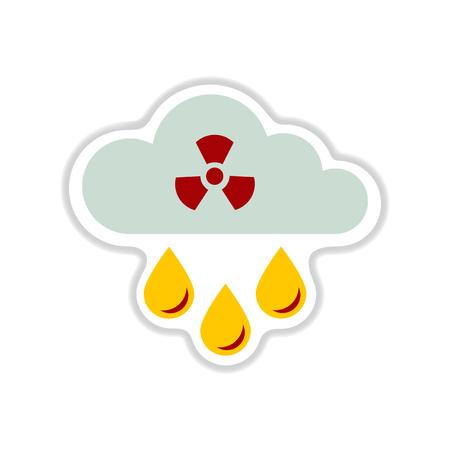 paper sticker on white background toxic rain 向量圖像