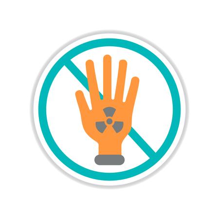 paper sticker on white background dangerous radioactivity
