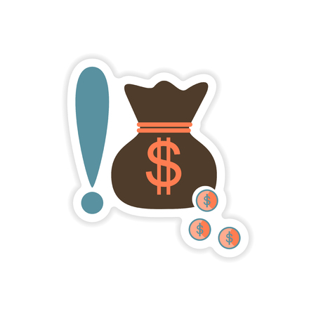 Stylish sticker on paper bag money and coins