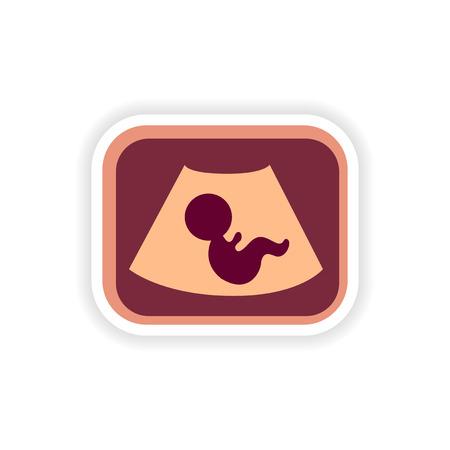 paper sticker on white background baby ultrasound