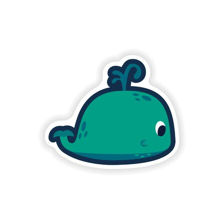Paper sticker on white background whale with fountain.