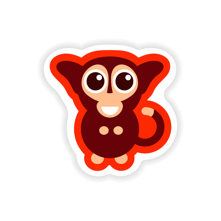 Paper sticker on white background little monkey.