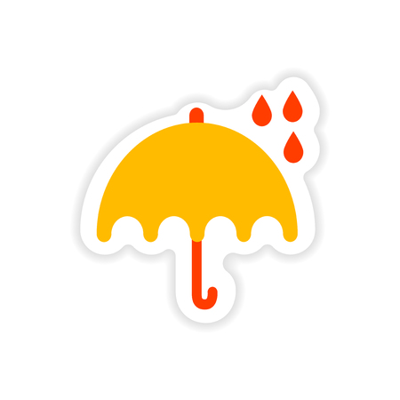 paper sticker British umbrella on white background