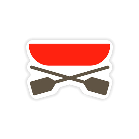 outboard: paper sticker boat and oars on white background