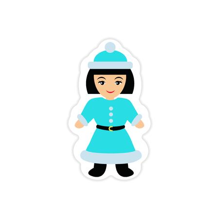 sociable: paper sticker on white background Girl dressed as Santa