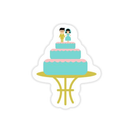 paper sticker on white background wedding cake