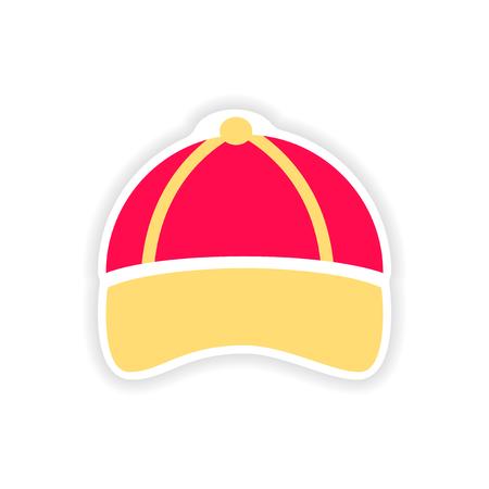 stylish paper sticker on white background cap
