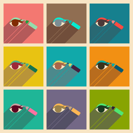 smeared: Modern flat icons vector collection with shadow Eyeliner pencil Illustration