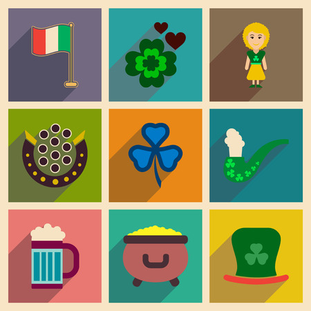 ireland flag: Concept of flat icons with long shadow St. Patricks Festival