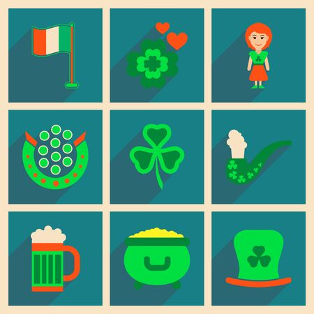 celtic: Concept of flat icons with long shadow St. Patricks Festival