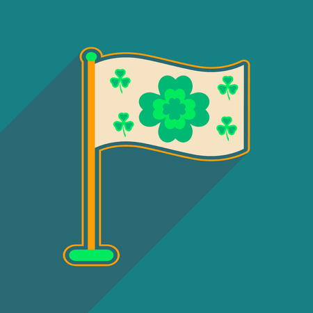festal: Flat web icon with long shadow flag clover Illustration