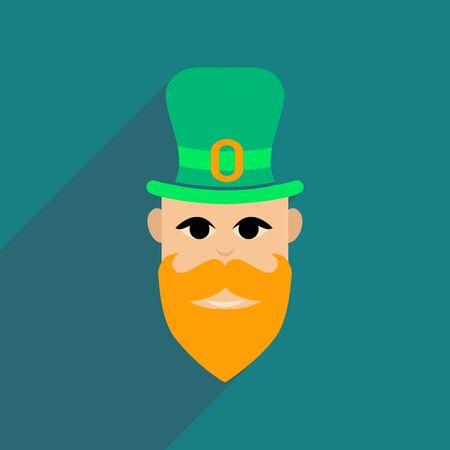 Flat web icon with long shadow Irish man