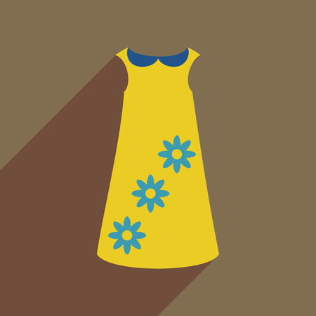 Flat icon with long shadow dress