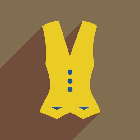 waistcoat: Flat icon with long shadow women vest Illustration