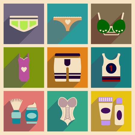 Concept of flat icons with long shadow  Underwear Illustration