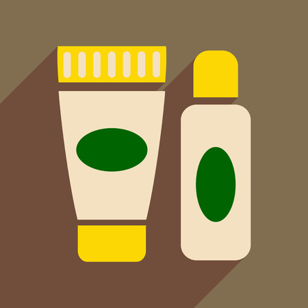 grooming product: Flat icon with long shadow  cream and shaving gel Illustration