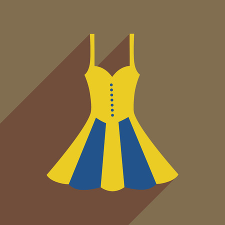 Flat icon with long shadow elegant dress Illustration