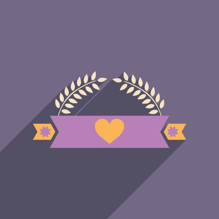 flat icon with long shadow ribbon heart leaves