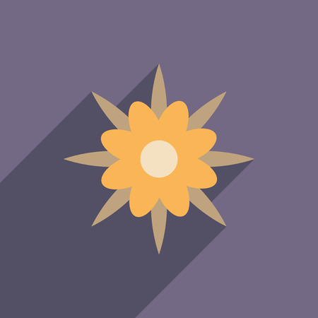 flat icon with long shadow  flower silhouette