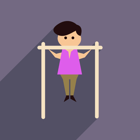 Flat web icon with long  shadow man horizontal bar Illustration