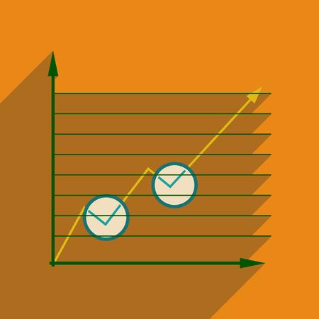 economic forecast: Flat web icon with long shadow economic graph