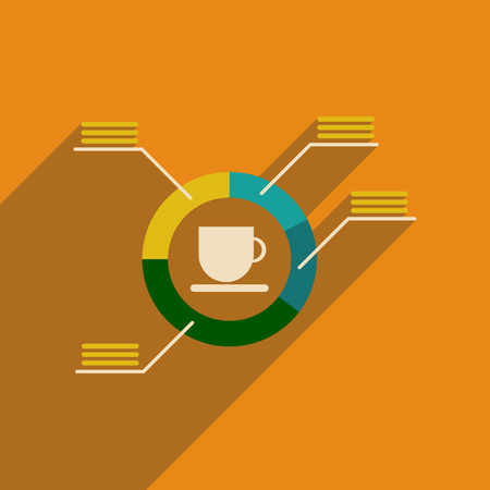 infochart: Flat web icon with long shadow coffee infographics