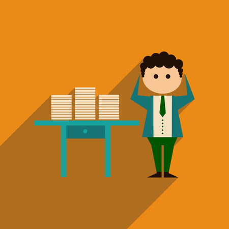 qualification: Flat web icon with long shadow office worker Illustration