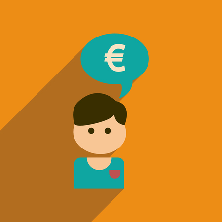 Flat web icon with long  shadow businessman thinks of money