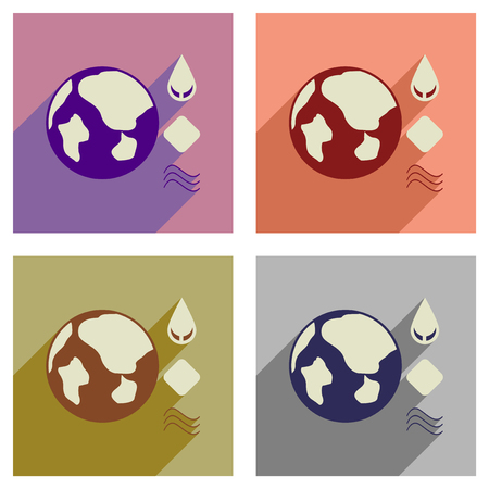 drops of water: Concept of flat icons with long shadow earth elements
