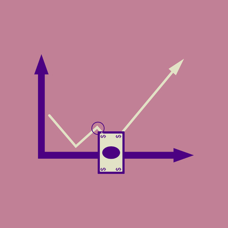 Flat web icon  on stylish background money graph Illustration