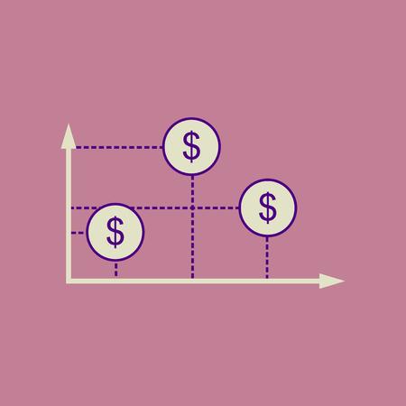 heap: Flat web icon  on stylish background money graph Illustration