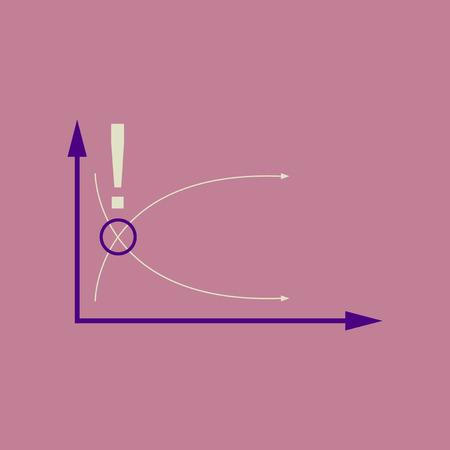 Flat web icon on stylish background economy graph Illustration