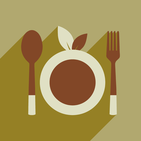 Flat web icon with long shadow eco cutlery