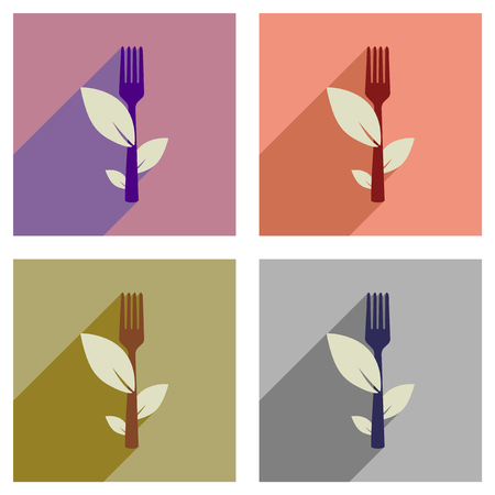 Concept of flat icons with long shadow eco fork Stock Illustratie
