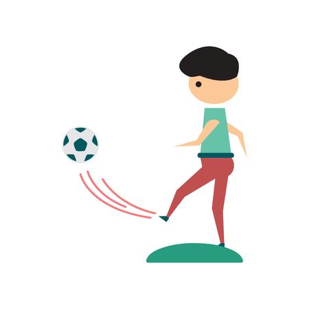 soccer goal: Flat web icon on  white background football player Illustration