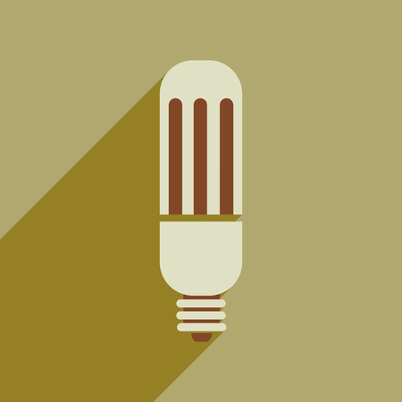 halogen: Flat web icon with long shadow eco light bulb