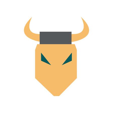 Flat web icon on white background bull