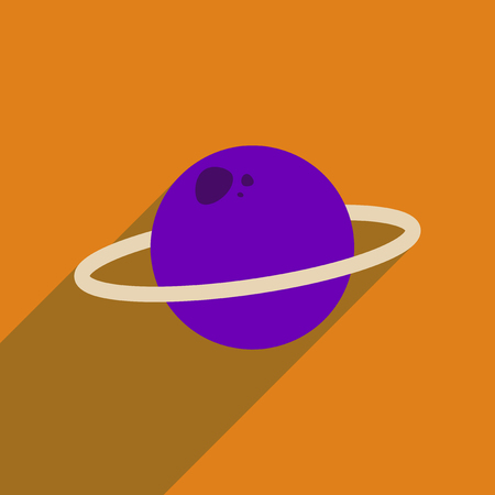Flat web icon with long  shadow planet Illustration