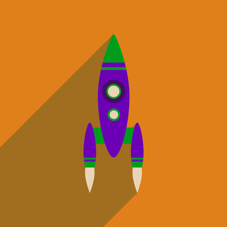 Flat web icon with long  shadow rocket Illustration