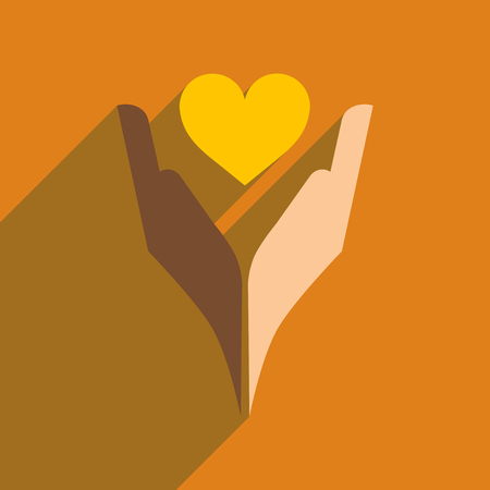 racism: Flat web icon with long  shadow heart hands Illustration