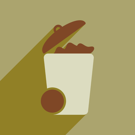 wastebasket: Flat web icon with long  shadow trash can Illustration
