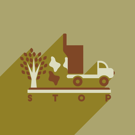 environmen: Flat web icon with long  shadow no environmental pollution Illustration