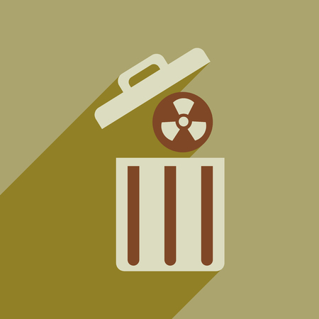 trash danger: Flat web icon with long  shadow toxic waste