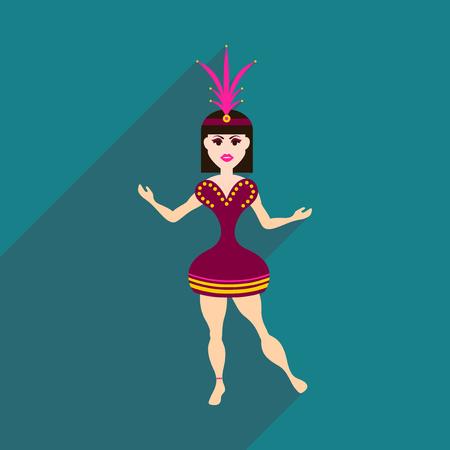 Flat web icon with long shadow Brazilian dancer Stock Illustratie