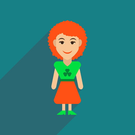 celtic: Flat web icon with long shadow Irish woman Illustration